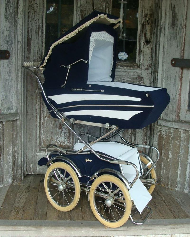 Vintage Blue Baby Peg Perego Pram Stroller Carraige RARE