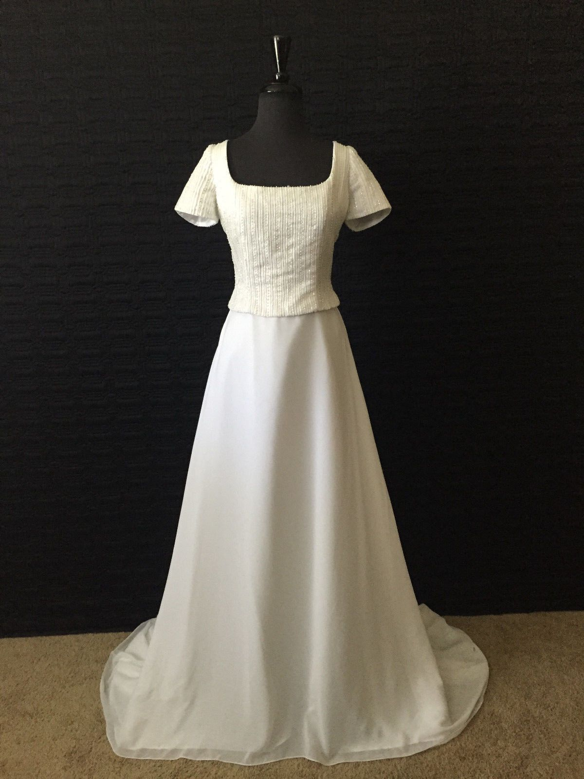 Wedding dresses for 2nd marriage  Awesome Awesome Modest Conservative Wedding Dress White Size