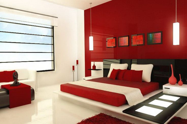 Maroon And White Bedroom