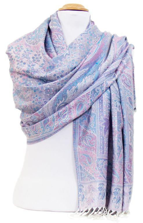 Etole bleu rose pashmina Angana. Etole bleu rose pashmina motifs indiens  cachemire. Découvrez plus de 150 modèles exclusifs étoles pashmina sur mes… 8380a8f22d6