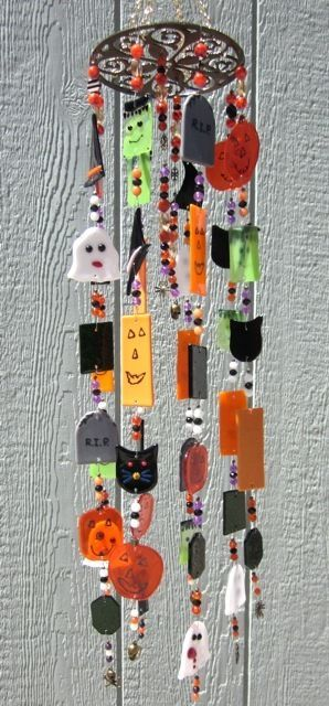 halloween wind chimes stained glass fused glass handmad windchime