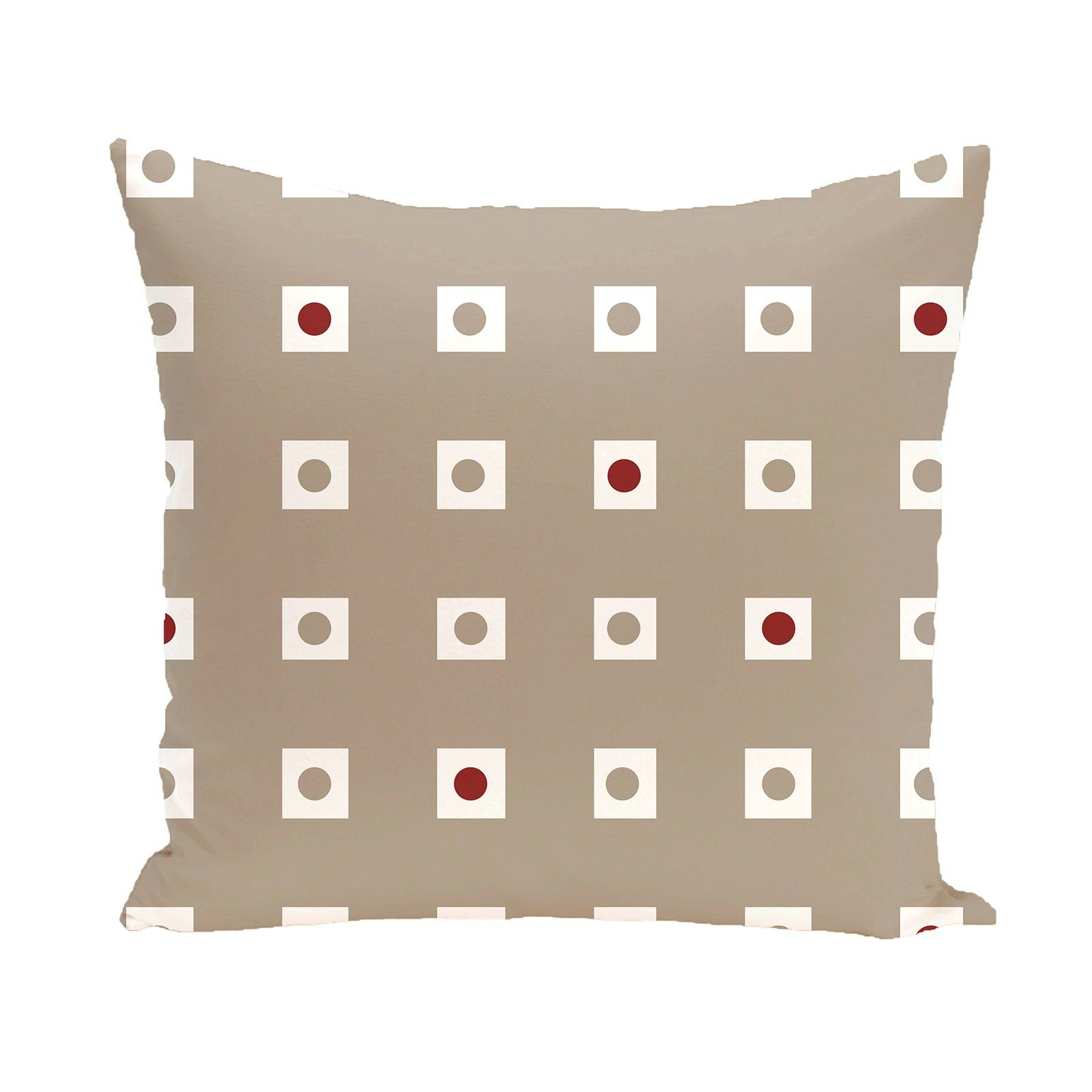 E by design Decorative Pillow Taupe Red