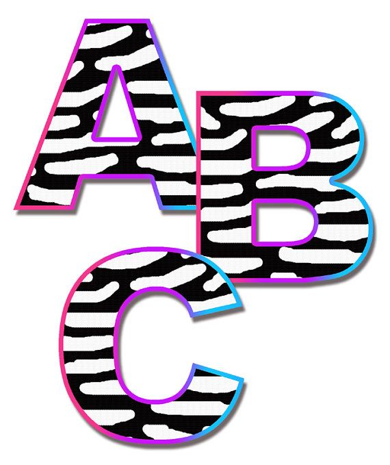 RAINBOW ZEBRA LETTER Decal Wall Art Teen Girl Animal Print Room Stickers  Decor Personalized Name Baby Part 92
