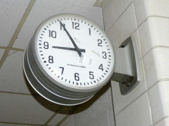 double sided flange school clock industrial by