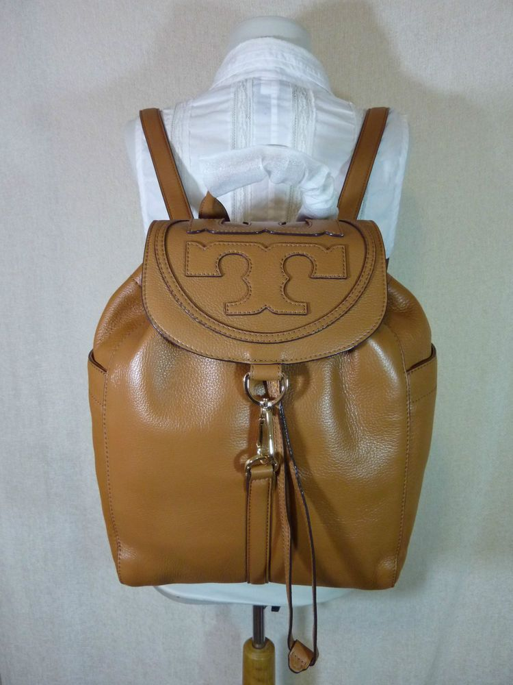 fc450b9de63 NWT Tory Burch Bark Brown Leather ALL T Large Backpack  495  ToryBurch   BackpackStyle