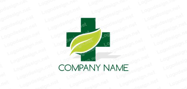 Leaf Merged With Plus Sign Leaf Logo Logo Design Template Logo Design