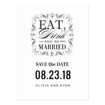 Black eat drink and be married postcard wedding anniversary and black eat drink and be married postcard stopboris Images