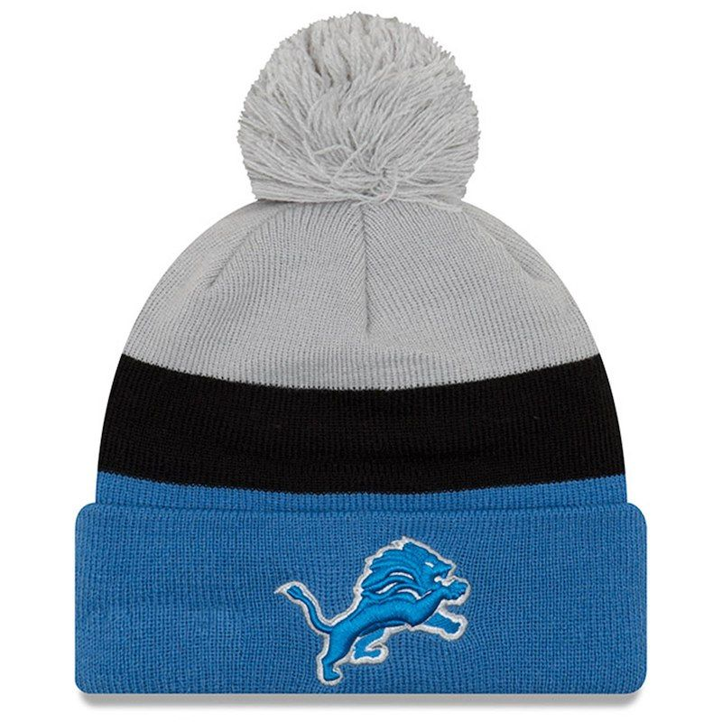 98c96084 Detroit Lions New Era Triblock Cuffed Knit Hat with Pom - Gray/Blue ...