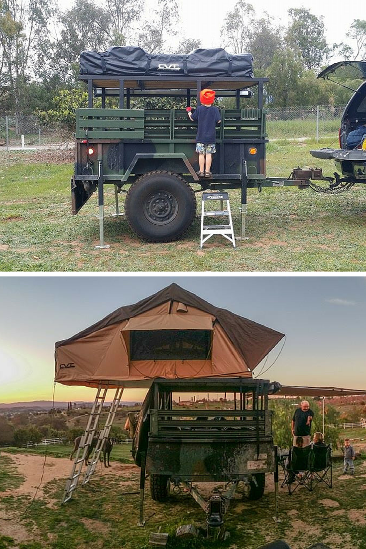 Outdoor Anhänger Rooftop Tent Cvt Mt Mckinley On A Converted Military