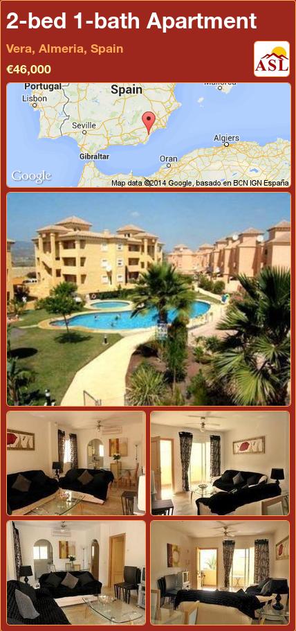 2bed 1bath Apartment in Vera, Almeria, Spain Save