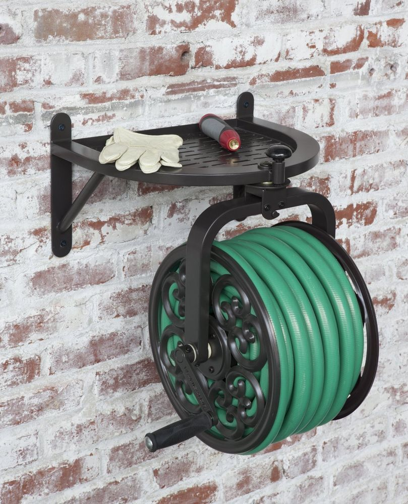 Liberty Garden Swivel Wall Mount Rotating Garden Yard Deck Patio Water Hose  Reel