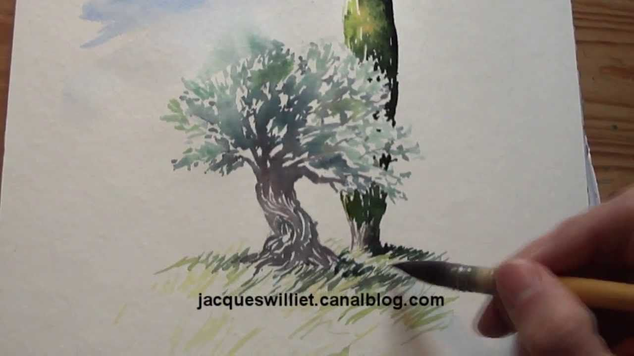 Demo Aquarelle Olivier Et Cypres Watercolor Tutorial Aquarelle