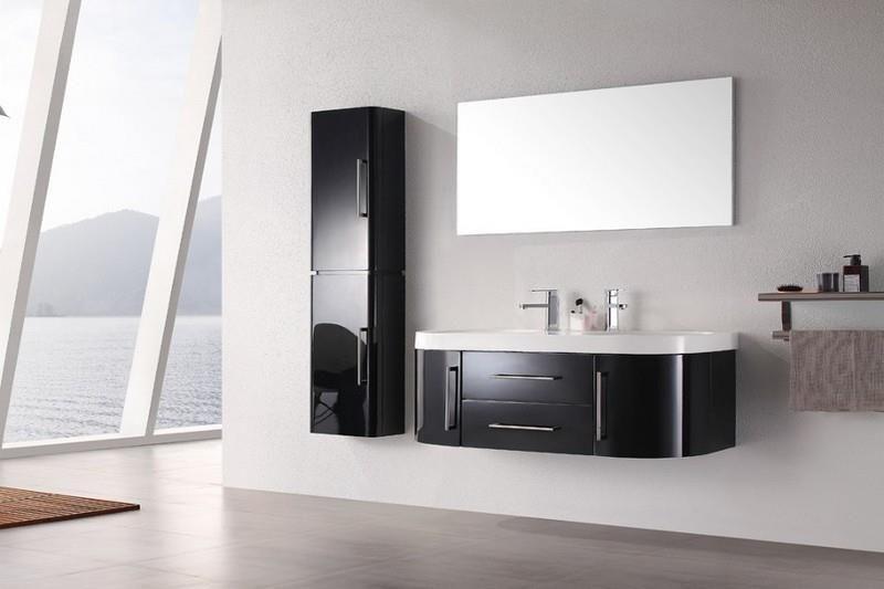 Meuble salle de bain double vasque noir laqué brillant 120 cm