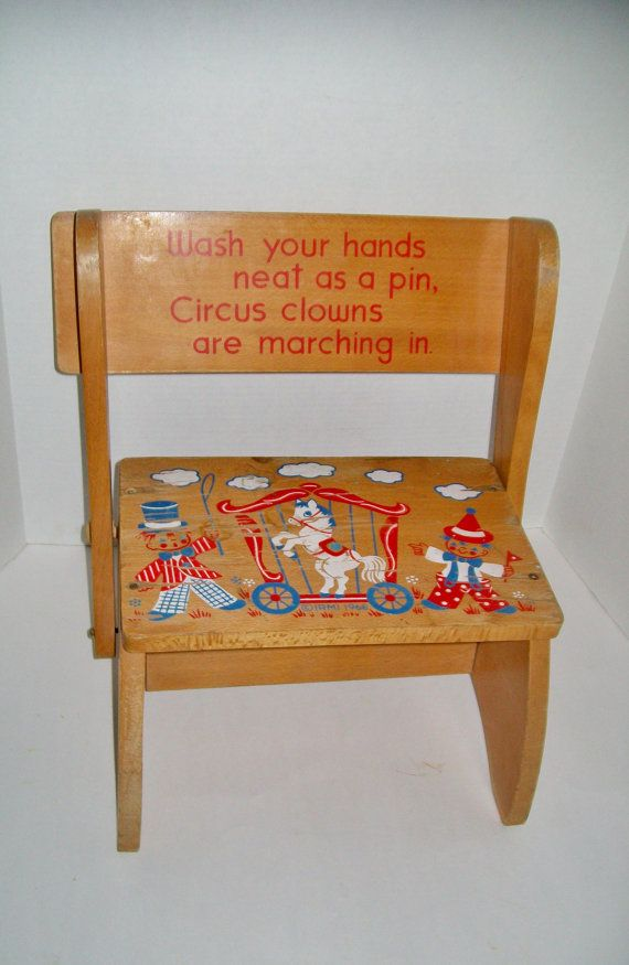 Vintage Child S Wooden Stool Circus Irmi 1966 Child S Chair Step
