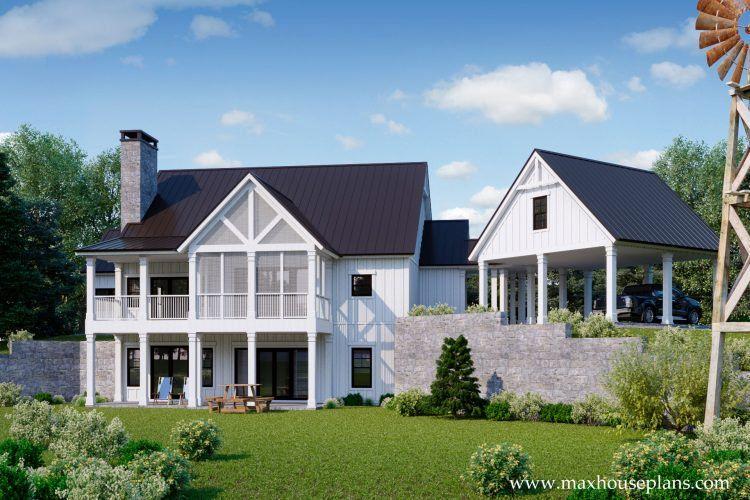 Modern Farmhouse House Plan Max, Farmhouse Walkout Basement Plans