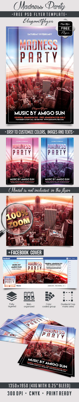 Madness party free flyer psd template psd templates free psd madness party free flyer psd template facebook cover https maxwellsz