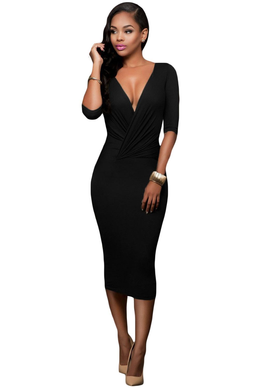 Black Two Way Midi Dress Laveliq Material 95 Polyester 5 Spandex Size Us 4 6 S Us 8 10 M Us Womens Midi Dresses Evening Midi Dress Midi Dress With Sleeves [ 1500 x 1001 Pixel ]