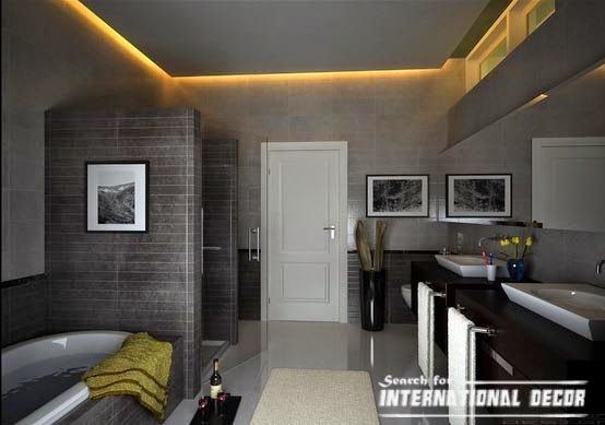 Plasterboard Suspended Ceiling Designs For Bathroom With Backlight