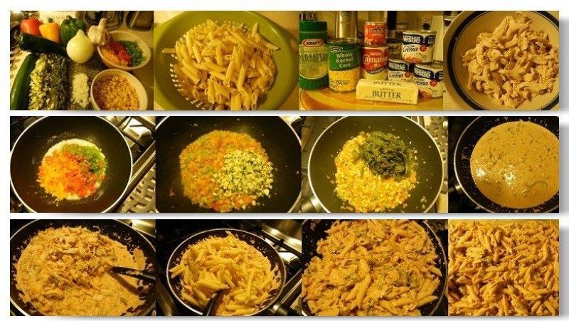 Pasta Penne al Chipotle: Se pone un cuarto de mantequilla en un sarten, un cuartito de cebolla picadita y un ajo, 1 bell pepper verde, amarillo y rojo picadito, 1/2 zuccini en cuadritos, 4 chiles poblanos quemados desvenados y en tiritas, ya que este suave, se agrega ya licuado 3 media crema nestle con 1 latita de chipotle y 1/2 carnation, elote, pollo cocido y desmenuzado y al final la Pasta Penne 16oz, ya cocida como dice en la bolsita, sal, pimienta y parmesano al gusto y listo!!!
