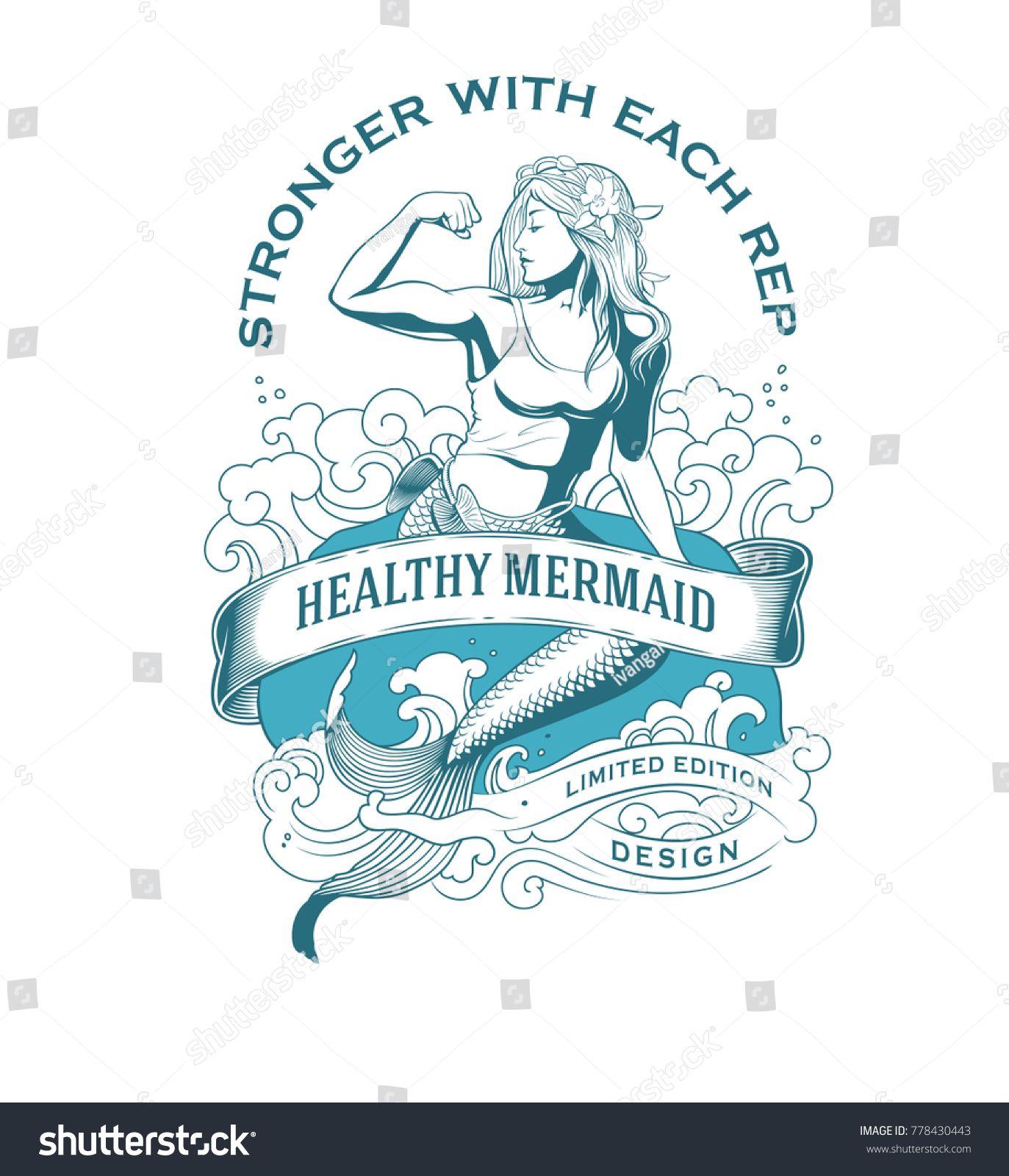 Healthy Mermaid Fitness Emblem #Sponsored , #spon, #Mermaid#Healthy#Emblem#Fitness