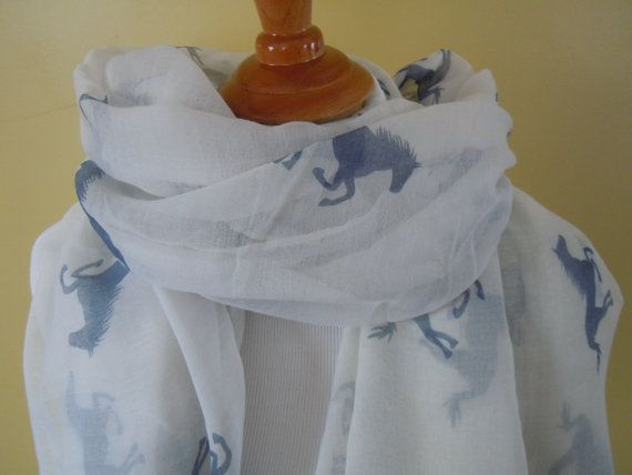 HORSE print Long Soft wrap Lady Shawl  by NKnitting on Etsy, $14.50