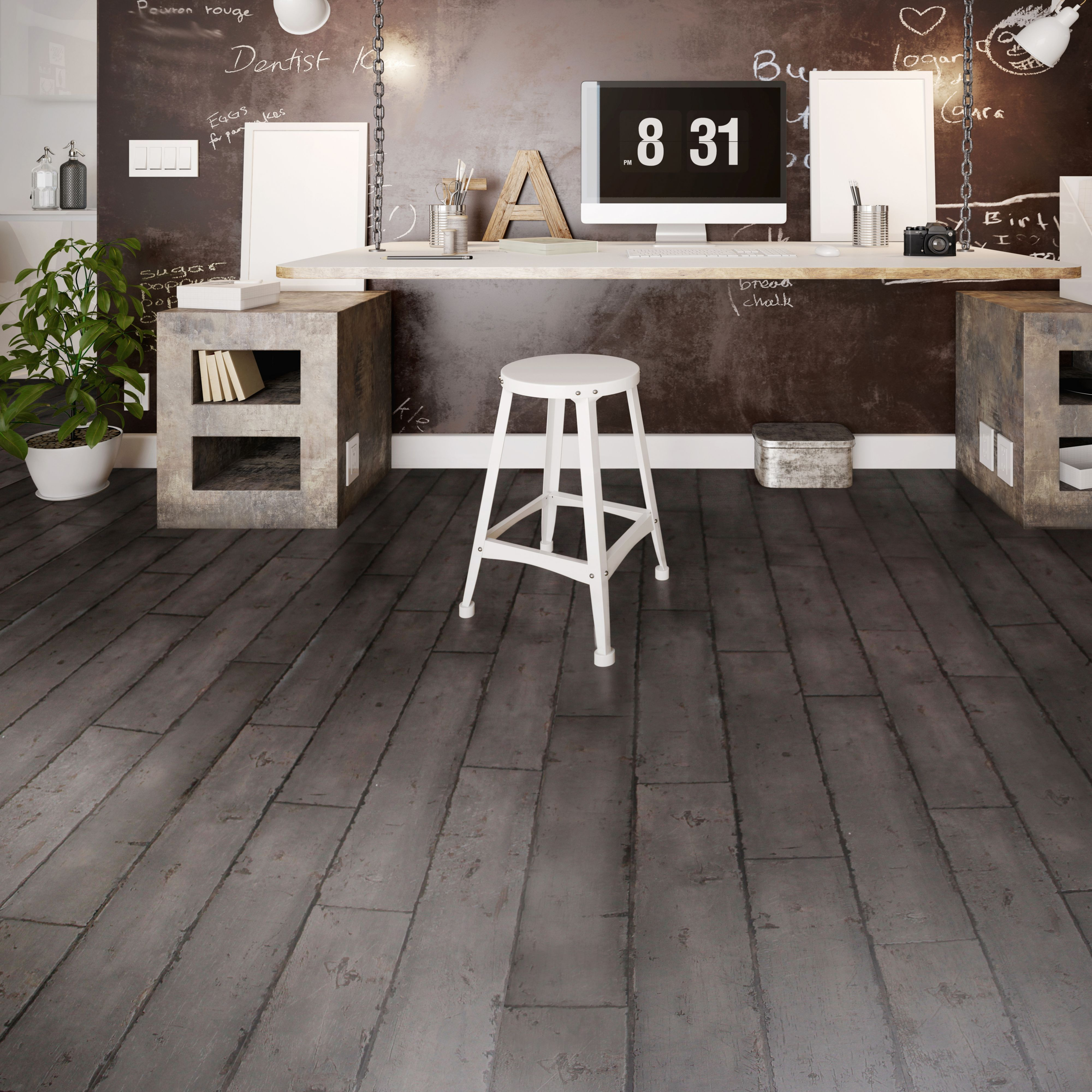 Dark Grey Washed Wood Effect Waterproof Luxury Vinyl Click