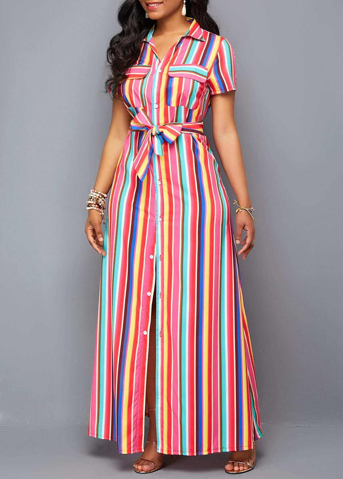 0c5c90c40e6 Turndown Collar Button Up Belted Maxi Dress