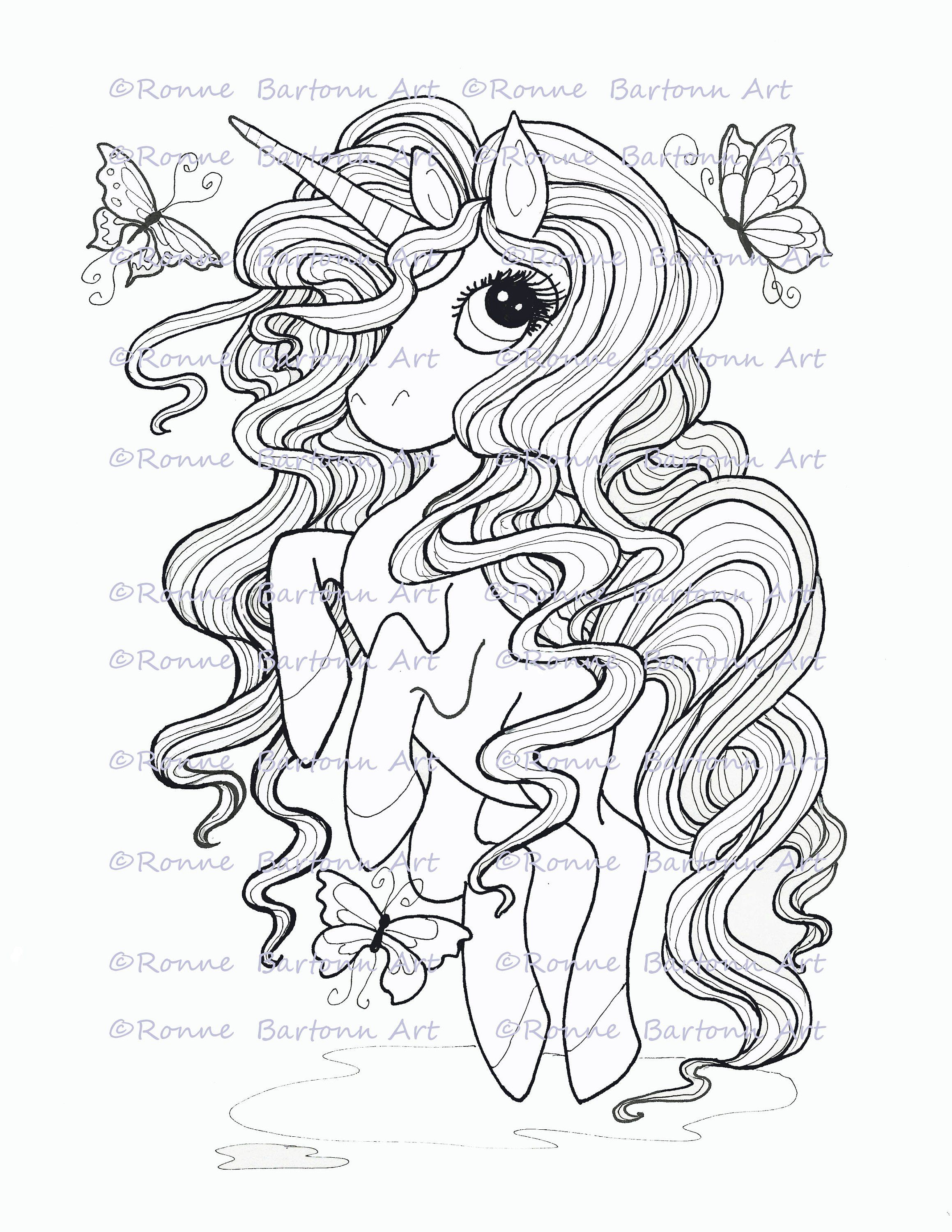 Pretty In Pink Unicorn Printable Fairy Coloring Page Sheet Big Eye Digi Instant Baby Coloring Pages Valentines Day Coloring Page Fairy Coloring Pages