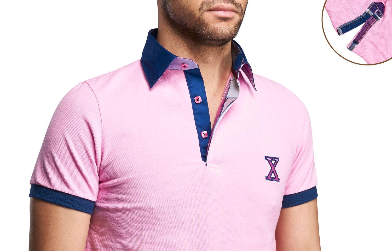Pink Polo Shirt Checkered Lining Short-sleeves  $89.90 Men's Fashion XOOS French Shirts
