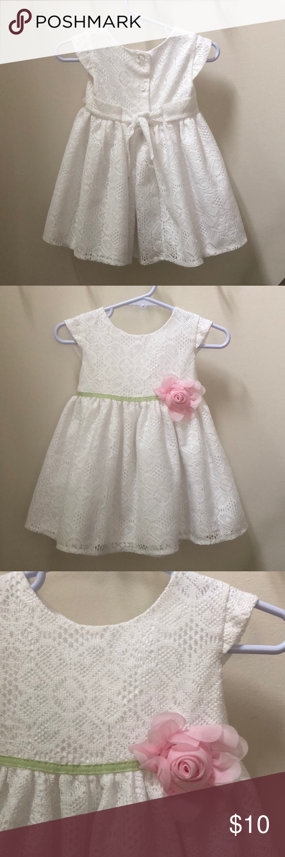 George White Lace Dress 12 Months George 12 Month White Lace Dress With Decorative Green Ribbon And Pink Flower Lace La Lace White Dress Lace Dress Dresses [ 1740 x 580 Pixel ]