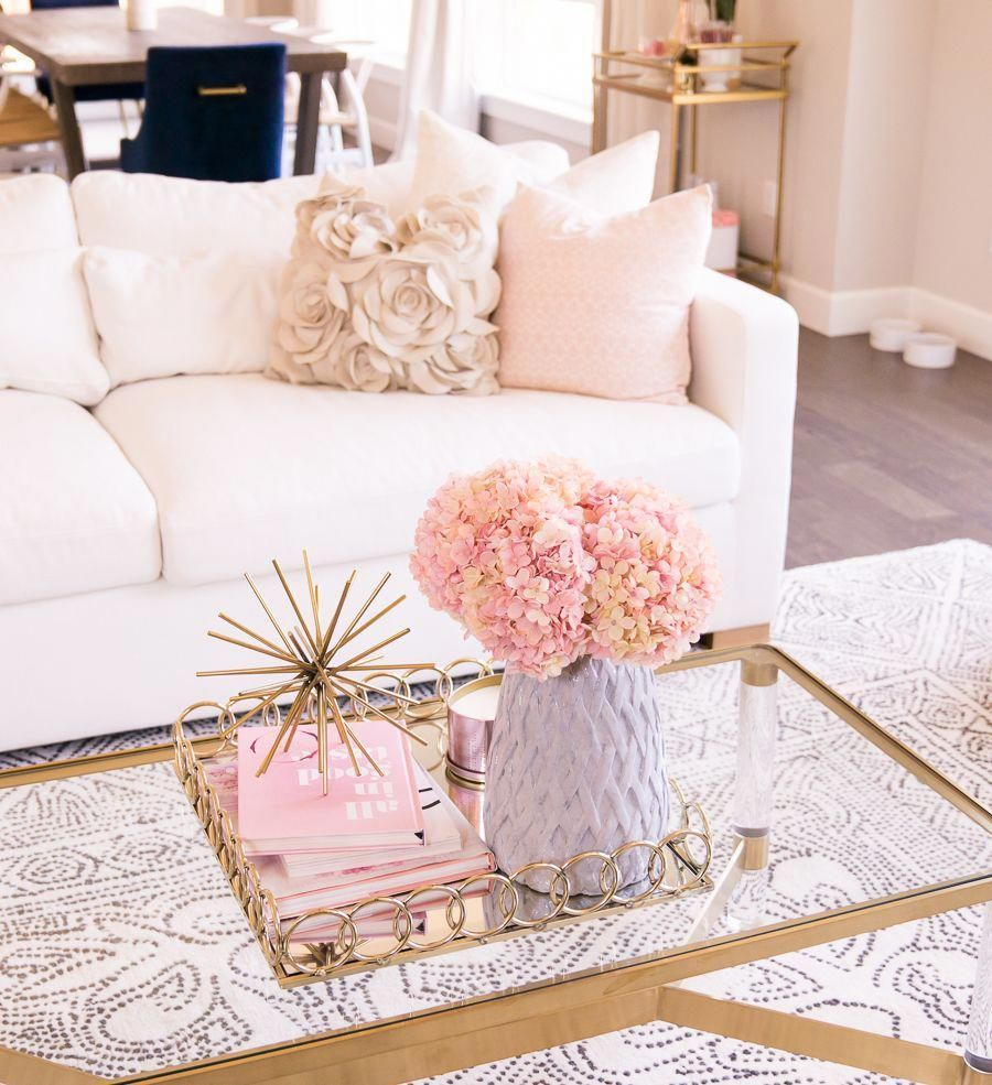 home decor tips #homedecor Interior Define review, Charly sofa, customize couch, white couch, modern glam living room with pink, blush, and gold accents, Seattle home interior design, home decor blogger #livingroomdecorideas