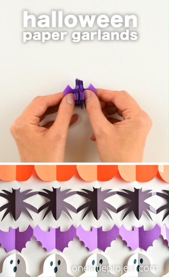 Photo of Halloween Paper Garland Cutouts – Bats, Spiders, Pumpkins, Ghosts and Black Cats!