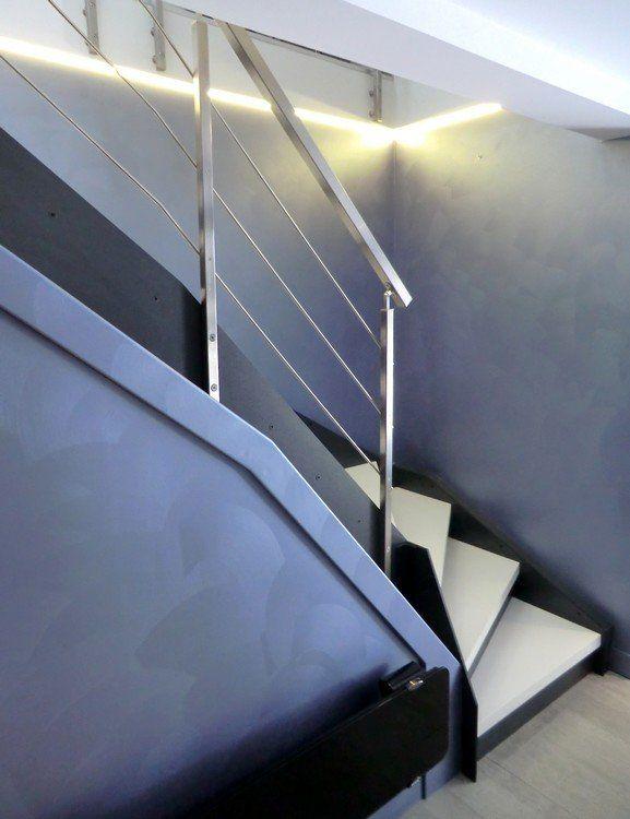 Escalier Loft avec garde-corps rampant en bastingage inox brossé ...