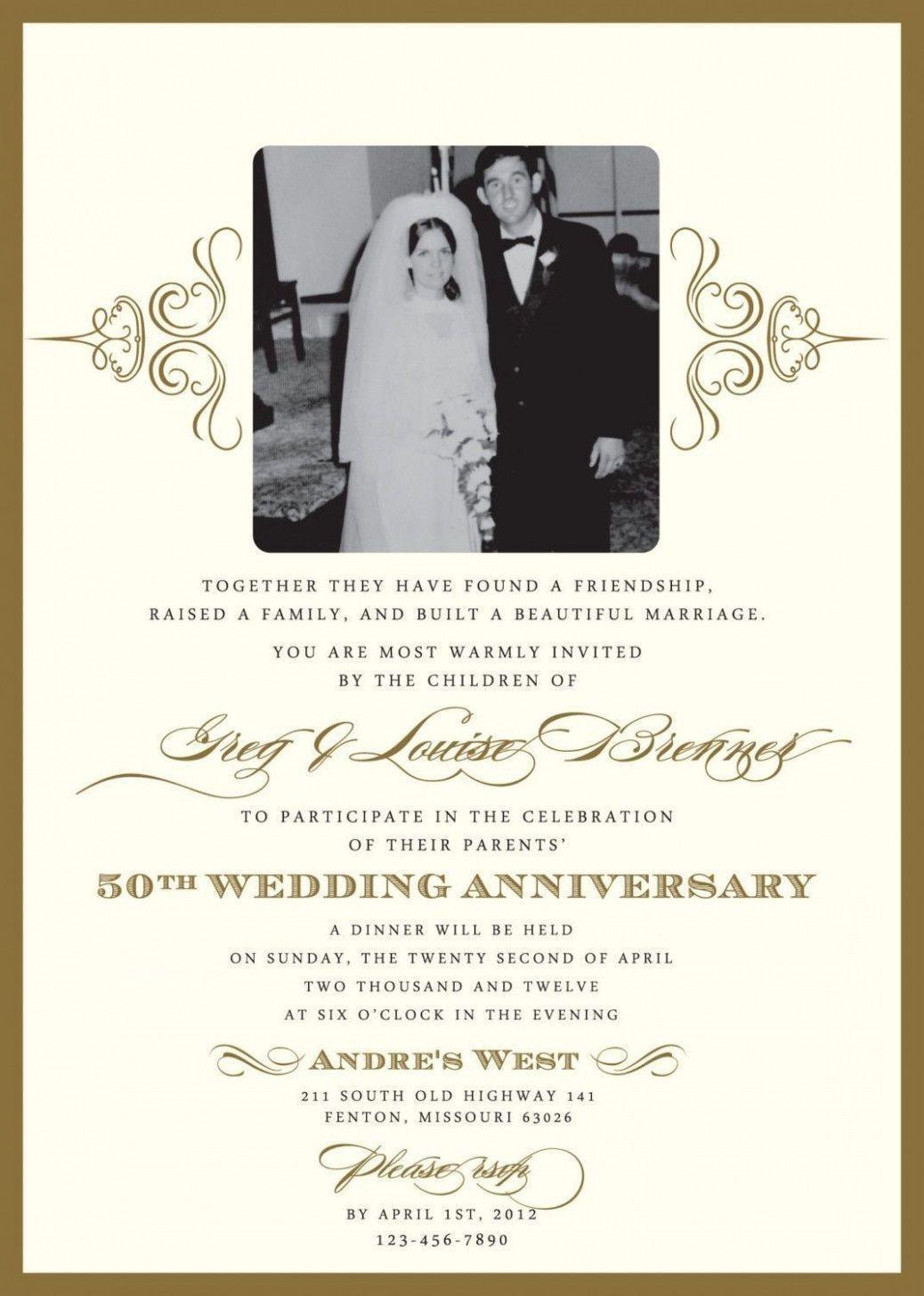 Golden Jubilee Marriage Anniversary Invitation Card Anniversary