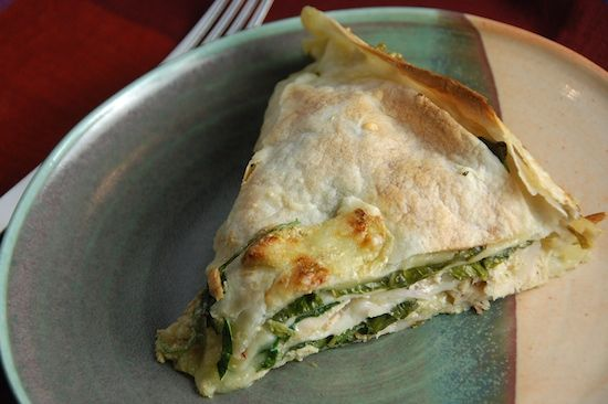Spinach, Chicken, and Cheese Tortilla
