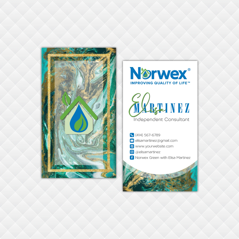 Watercolor Norwex Business Cards Personalized Norwex Template Nr29 Custom Business Cards Cleaning Business Cards Personal Business Cards