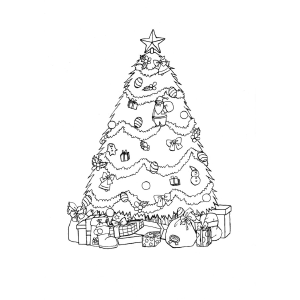presents under christmas tree printable coloring page