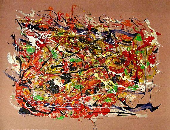 """DIPINTO opera d'arte astratta rosso arancione verde """"Fuori Controllo"""" vernici su carta fotografica"""