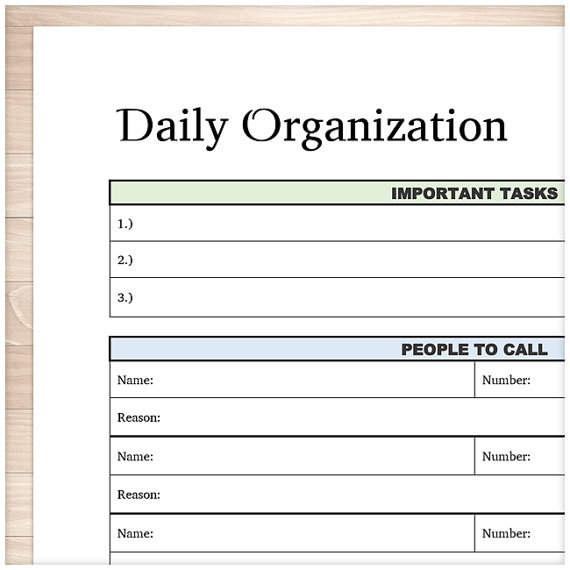 printable daily task sheet full page organizer clean and simple
