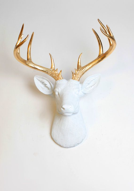 Bon Large Deer Head   The XL Alfred   Large White Faux Deer Head W/ Gold  Antlers Resin Wall Mount   Fake White Deer Faux Taxidermy   Wall Decor
