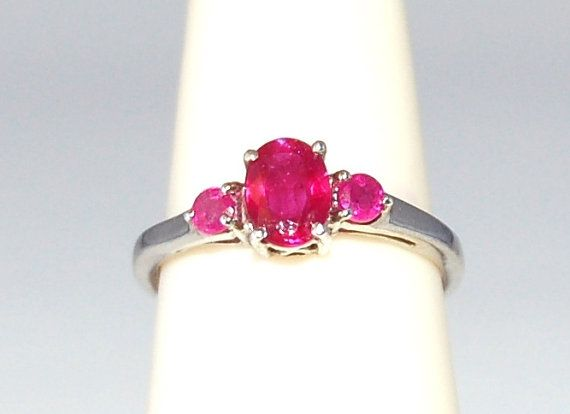 Great Quality 3 Stone Red Pink Ruby Ring Size by WindstoneDesigns, $68.95