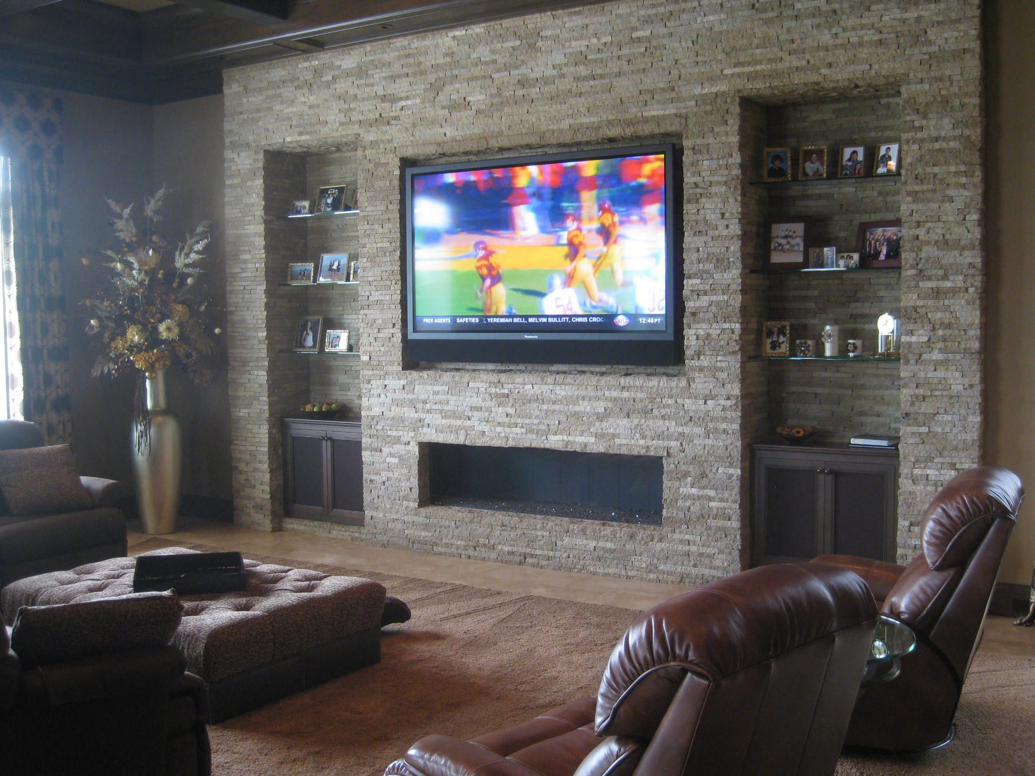 Wohnzimmer Wand Mauern Mounted Tv With Soundbar And Fireplace Google Search