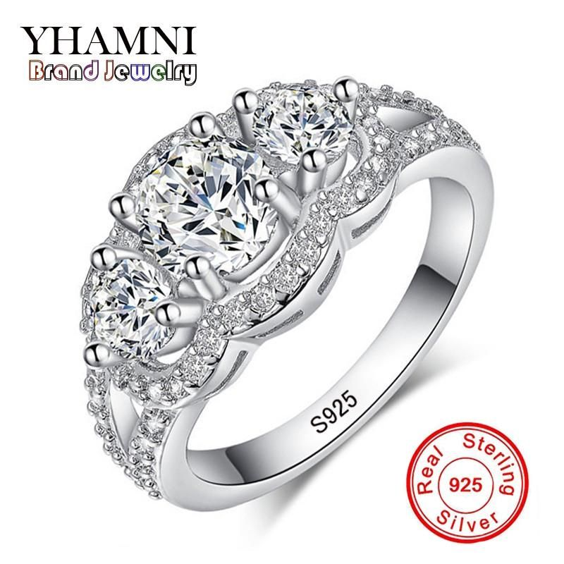 Yhamni Fine Jewelry Solid 925 Sterling Silver Wedding Rings Set