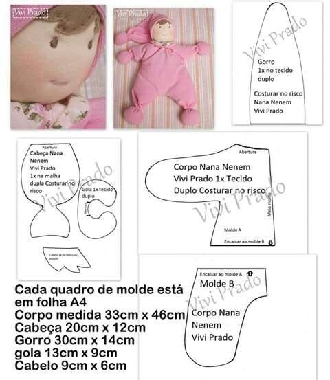 dd434d8b7 Nana Nenê by Vivi Prado - molde | molde | Fabric dolls, Stuffed toys ...