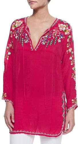 dbafd809121 Johnny Was Vanessa Georgette Embroidered Tunic