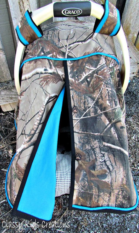 Camo Car Seat Canopy in Realtree Xtra Camouflage and Turquoise /Baby Carseat Canopy / Infant Carseat Canopy Cover / My Baby Blind : baby canopy cover - memphite.com