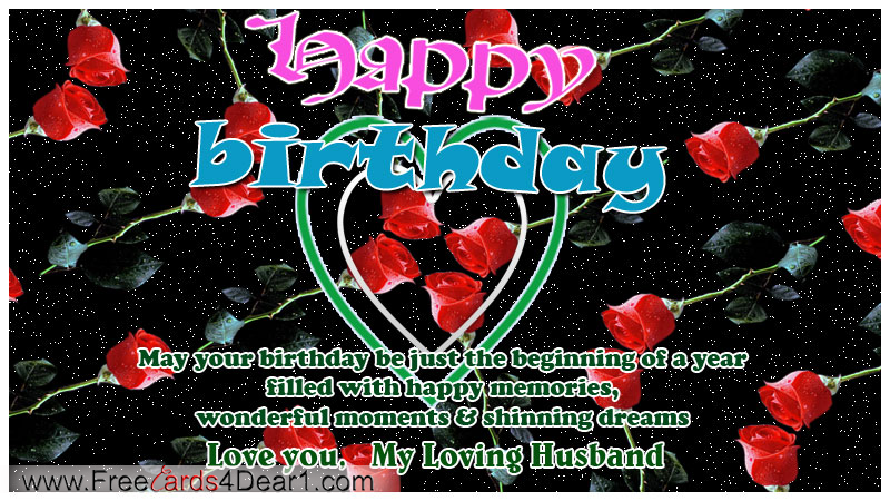 Happy birthday greeting ecard for husband rose flower greeting happy birthday greeting ecard for husband rose flower greeting m4hsunfo
