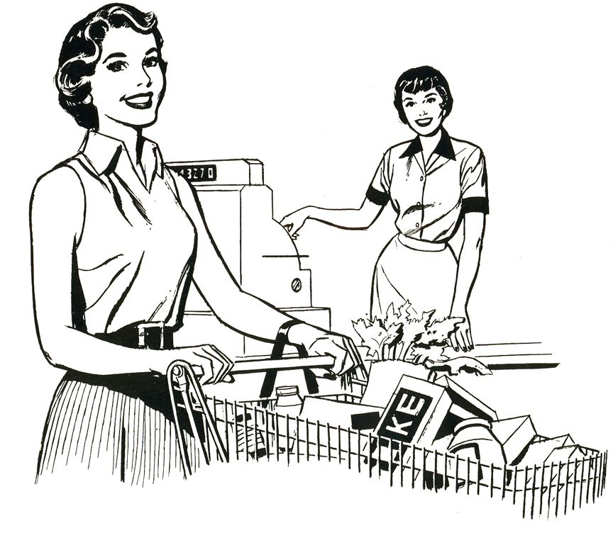 Retro Supermarket Coloring Page With Images Coloring Pages