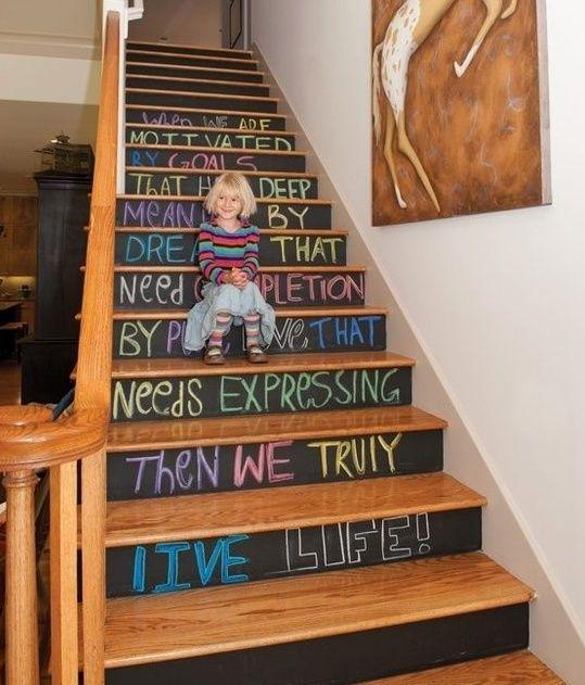 escaleras pizarron decorar escaleras Decoración de casa