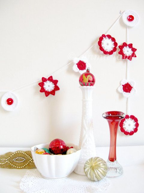 Festive Flower Garland LIMITED EDITION crochet garland by emmalamb